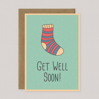 Get Well Soon - Funny Sock Card - A5 Size