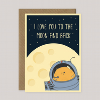 I Love You to the Moon and Back - Funny Cat-Themed - A5 Size Love Card