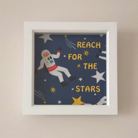 Frugi Fabric Spaceman Astronaut Personalised Box Frame Nursery Child Wall Art