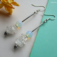 Opalite and Crystal quartz earrings