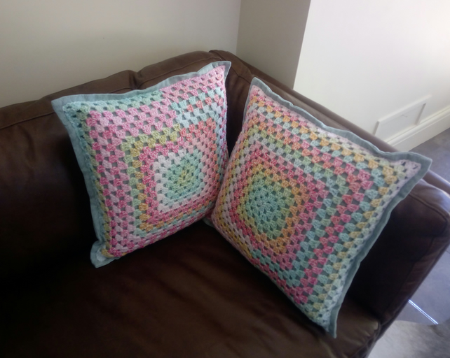 Multi-coloured granny square cushion