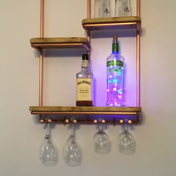 Chic Industrial Style Home Wall Bar with glass holder