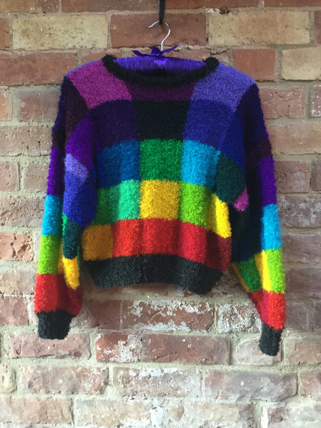 MoBair Fizz Yarn, Hand Knitted Hand Dyed Rainbow Jumper