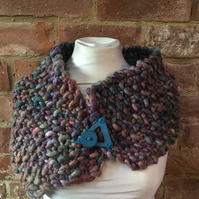 MoBair Hand Dyed Hand Knitted Wool Roving Scarf Collar