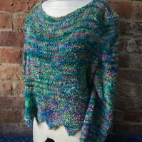 MoBair Tolka Hand Dyed Hand Knitted Monet Style Pointed Jumper