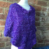 MoBair Bubble Mohair Hand Dyed Hand Woven Poncho