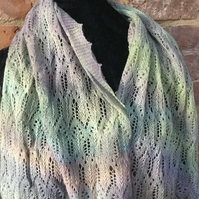 MoBair Baby Alpaca Hand dyed Stole  Pastel Rainbow tones 72x26