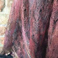 MoBair Hand Dyed Random Pinks Kid Mohair Lace Stole 72x26