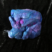 MoBair Silk Noils Hand Dyed Random Blues Purples