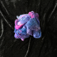 MoBair Silk Noils Hand Dyed Random Blues Purples Pinks