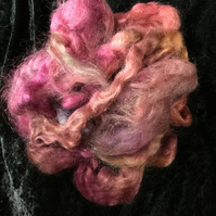 MoBair Kid Mohair Tops Hand Dyed Random Rose Pinks Harvest Golds