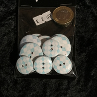 Craft Buttons Light Baby Blue Argyle Pattern (N.39)