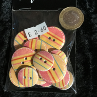 Craft Buttons Yellow Pink Red Teal Stripes (N.43)