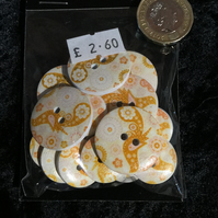 Craft Buttons Yellow Mustard Paisley Bird Pattern (N.45)