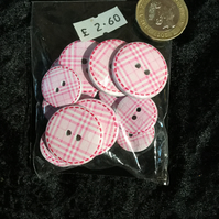 Craft Buttons Pink and White Tartan Pattern (N.48)