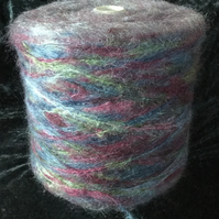 Brushed DK Mohair Multi Coloured Mauve Blue Green Grey