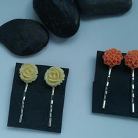 Orange and Cream Flower Hair Pins, Set of 2 Bobby Pins