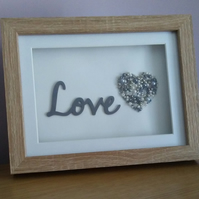 Silver and Grey Love Heart Beaded Picture, Oak Wood Effect Box Frame, Shadow Fra