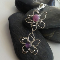 Silver Flower Pendant with Purple Glass Beads Necklace