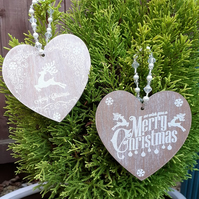 Set of 2 Christmas Decorations, Wooden Hearts
