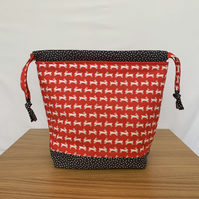 Drawstring knitting bag, sock sack, project Bag