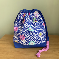 Drawstring bag, sock sack, knitting bag, kaffe fassett fabric bag