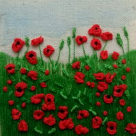 Original Hand Embroidered, Mini Fabric Poppy Art, Unmounted and Unframed, 5cm sq