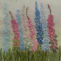 Original Hand Embroidered, Foxglove and Delphinium Textile Art, Framed 12.5cm sq