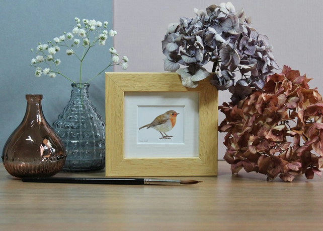 Framed Robin - Mini Bird art print from watercolour painting