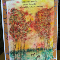 Autumn Sunset With Trees and Deer Handmade Card