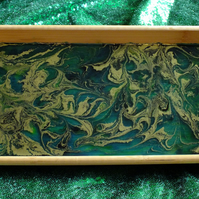 Marbled Ink and Bamboo Tray