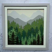 EVERGREEN FOREST - Layered Paper Cut In Frame