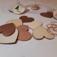 Kit to make 8x personalised heart wineglass charms - wood and copper
