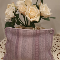Recycled wool bag or pouch with button detail - purple and grey