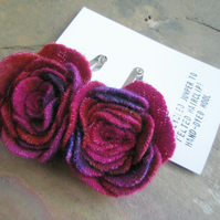 Two hand dyed hair clips in the shape of a rose or flower - pink-red multicolour