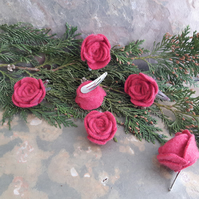 Two upcycled cashmere felt pink rose hair clips