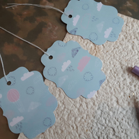 3x large gift tags - pink and blue rain clouds