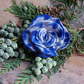 Upcycled brooch, blue and grey hand dyed felt rose or flower pin