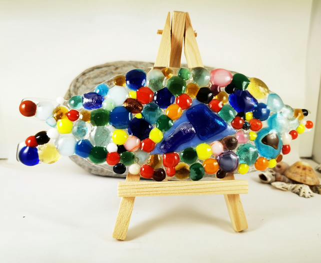 Large Fused Glass Scaly Fish with easel