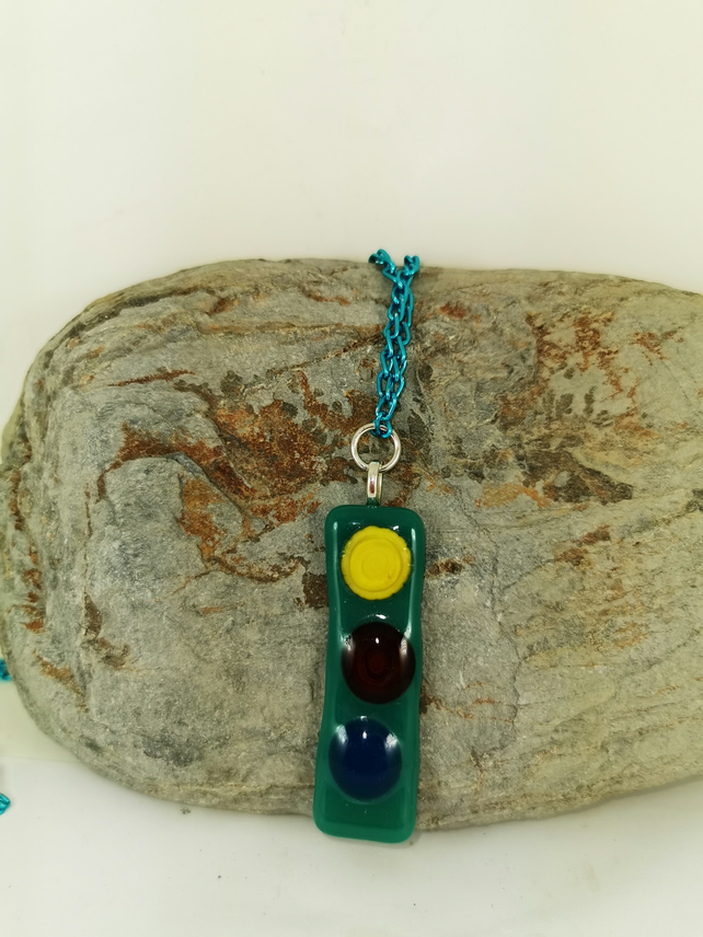 Traffic Light Style fused glass pendant