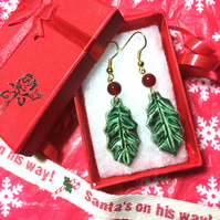 Ceramic Holly Earrings