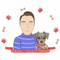 Personalised illustrated portraits of families, couples and pets 1-3 people