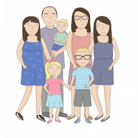 Personalised illustrated portraits of families, couples and pets 7-9 people
