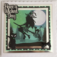3D Luxury Handmade Card Pagan Halloween Have a Wicked Day Sexy Witch Cats 1