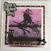 3D Luxury Handmade Card Pagan Halloween Have a Wicked Day Sexy Witch Cats