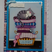 3D Luxury Handmade Card Birthday Cat Sleeping on Laundry Basket