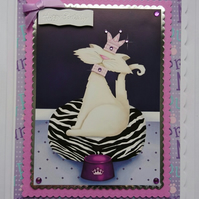 3D Luxury Handmade Card Birthday Queen Princess Cat Crown Necklace