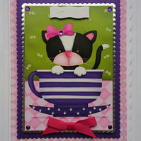 3D Luxury Handmade Card Birthday Cat In A Tea Cup