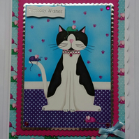 3D Luxury Handmade Card Birthday Fat Black and White Cat with Mice