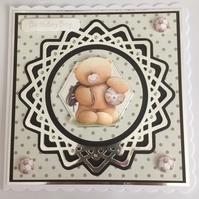 3D Luxury Handmade Card Cute Teddy Bear Birthday Boy Soccer Football